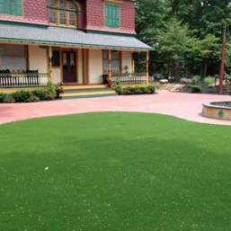 Artificial grass courtyard in front of Pennsylvania Colonial house