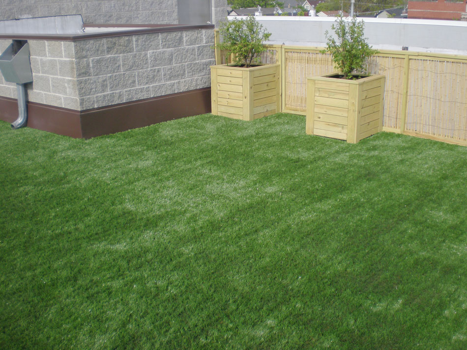 Modern rooftop deck in Philadelphia with artificial grass
