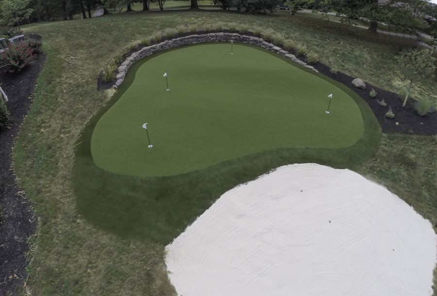 Astro Turf golf green in Bethlehem with a large sand bunker