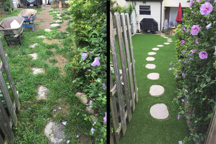 Before and after backyard artificial turf design with pavers in New Jersey